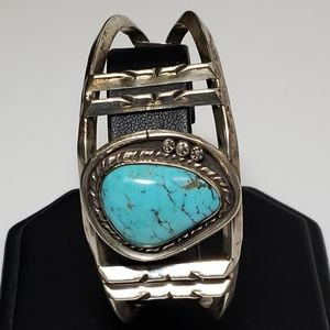 Turquoise Sterling Silver Bracelet Cuff Native Ame